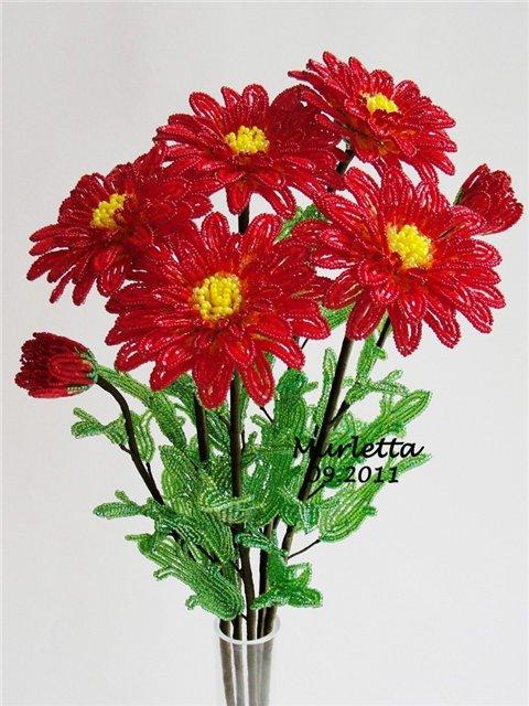 Хризантемы - Цветы из бисера