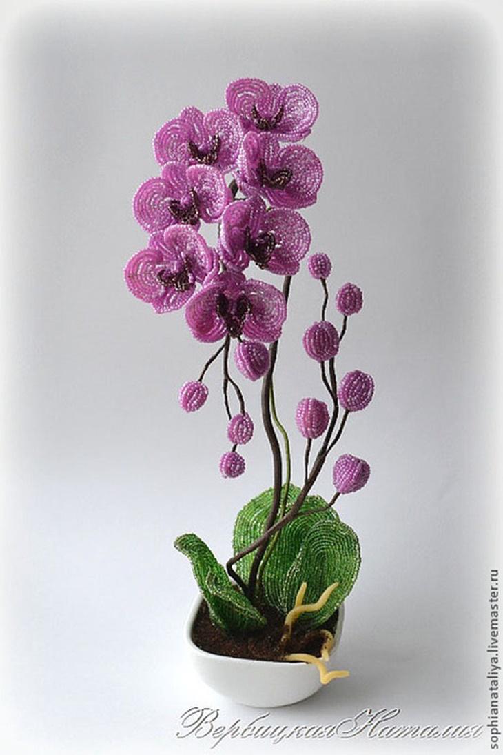 Как сделать цветок из бисера орхидеи